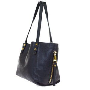 CHLOE Logo Dilan Shoulder Tote Bag Leather Black